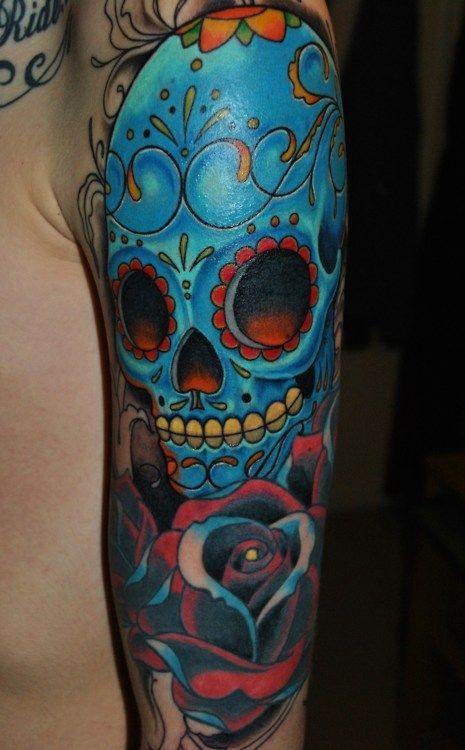 Eccezionale teschio di zucchero blu messicano tatuaggio avambraccio  NO12