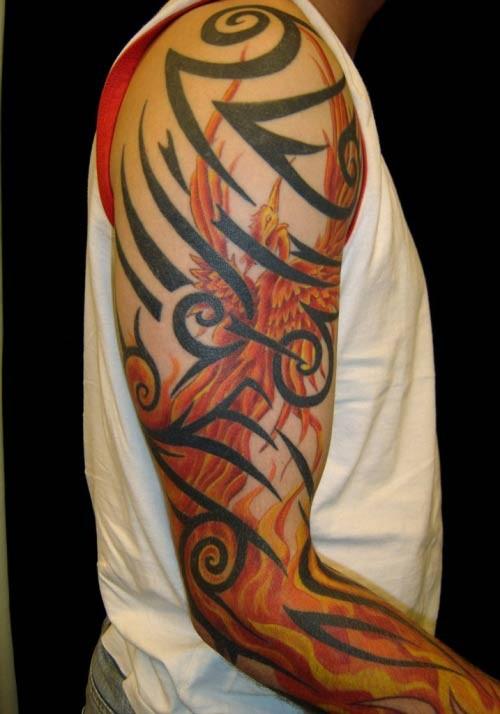 spesso Tatuaggio grande sul braccio l'uccello giallo rosso & i disegni  BJ12