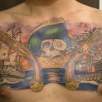 cranio di pirati dei caraibi tatuaggio. Black Bedroom Furniture Sets. Home Design Ideas